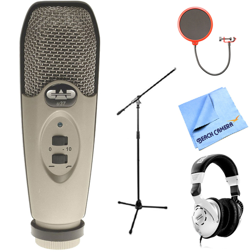 CAD Audio USB Large Diaphragm Cardioid Condenser Microphone w/Headphone Bundle