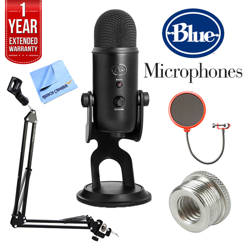 BLUE MICROPHONES Yeti Professional USB Desk Microphone w/ Accessories Bundle - BLACKOUTYETI