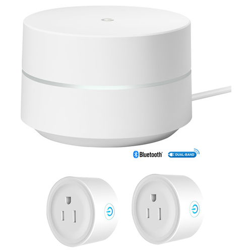 Google Wi-Fi System Mesh Router (1-pack) (GA00157-US) w/ 2 Pack Wifi Smart Plug