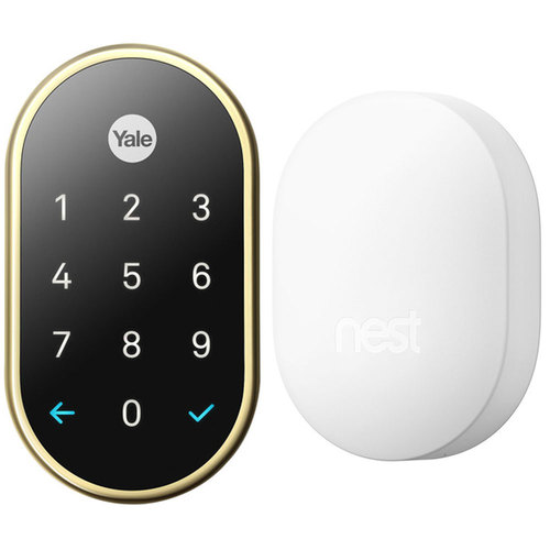 Nest x Yale Lock Keyless Deadbolt with Nest Connect Polished Brass Bundle