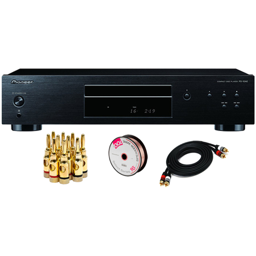 Pioneer CD Player with Premium 2 RCA Plug, 16 AWG Wires, and Brass Speaker Banana Plugs