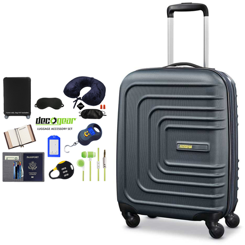 American Tourister 28` Sunset Cruise Hardside Spinner Luggage Nightshade + Accessory Kit