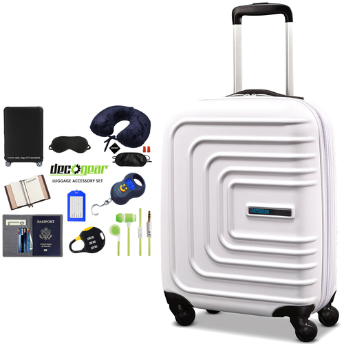 American Tourister 24` Sunset Cruise Hardside Spinner Luggage Cloud White + Accessory Kit