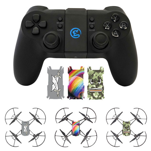 Deco Gear DJI Tello Drone Remote Control with Tello Body Skin Decals (Pack of 3)
