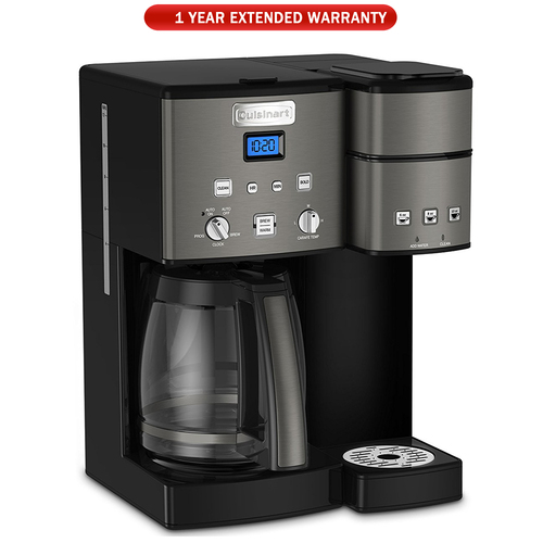 Cuisinart 12 Cup Coffeemaker and Single Serve Brewer Black + Extended Warranty (SS-15BKS)