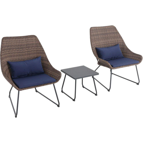 Mod Furniture Montauk 3-Piece Wicker Scoop Chat Set in Navy Blue - MONTK3PC-NVY