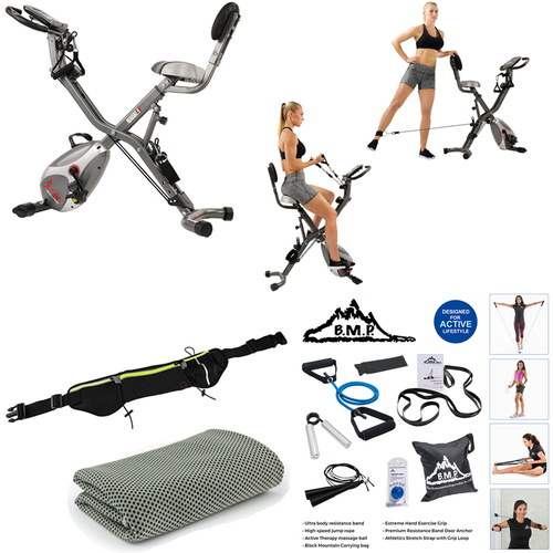 Sunny Health and Fitness Total Body Indoor Exercise Bike - (SF-B2710) Bundle