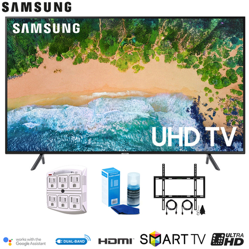 Samsung UN43NU7100 43` NU7100 Smart 4K UHD TV 2018 w/ Wall Mounting + Cleaning Kit