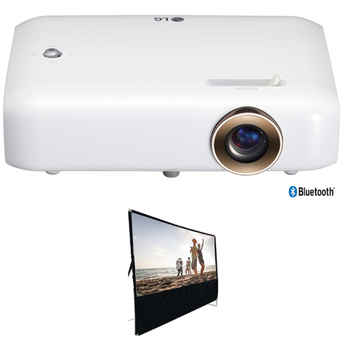 LG PH550 HD Projector w/Bluetooth Sound, Built-in Battery +100` Projector Screen