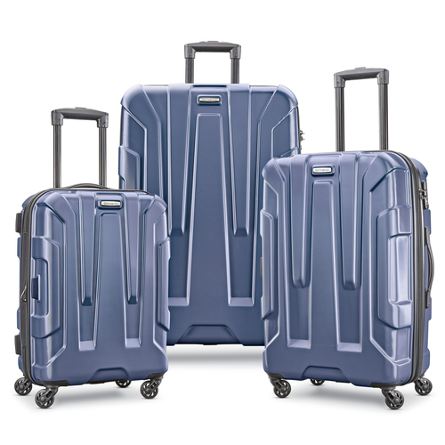 Centric 3pc Hardside (20/24/28) Expandable Spinner Wheel Luggage Set, Navy Blue