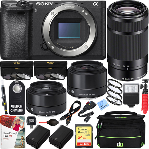 Sony a6500 4K Mirrorless Camera w/ 55-210mm & Sigma 19mm & 30mm Prime Art Lens Bundle