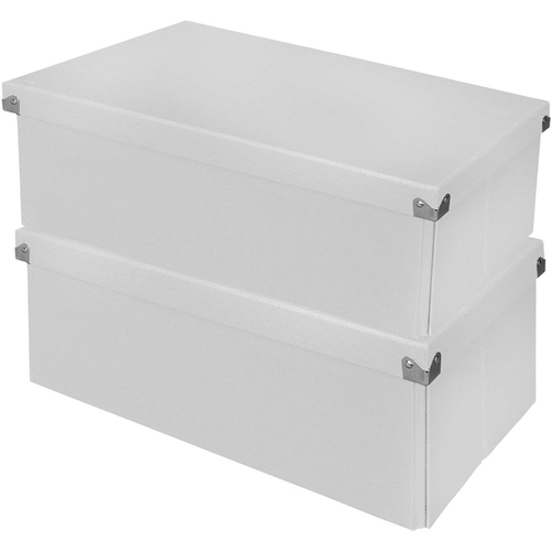 Samsill Essential Box with Lid in White 2 Pack - PNS05LSWE2