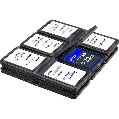 Memory Card Wallet - media storage bi-fold case for twelve memory cards