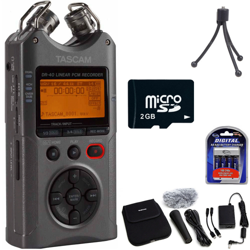 Tascam DR-40 - Portable Digital Recorder (Luminous Gray) Filmmaking Accessory Bundle