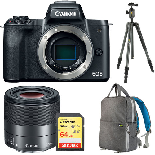 Canon EOS M50 Mirrorless Digital Camera (Body Only, Black) w/ EF-M 32mm f/1.4 STM Lens