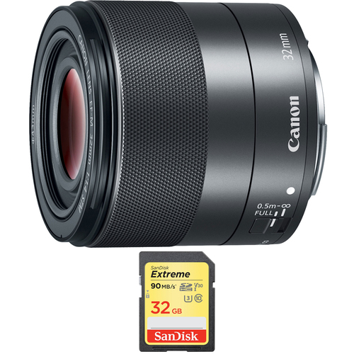 Canon EF-M 32mm f 1.4 STM Lens (2436C002) with Sandisk 32GB Extreme SD Memory Card