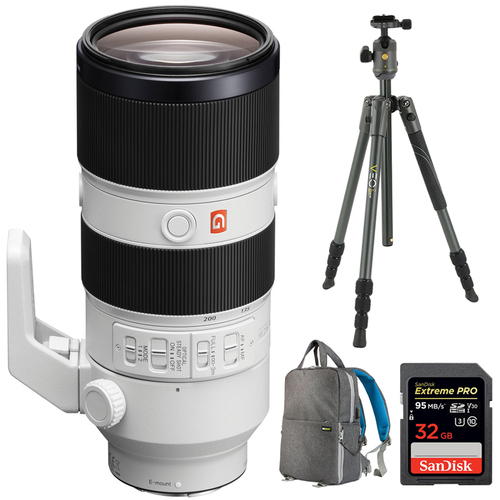 Sony FE 70-200mm F2.8GM OSS E-Mount Lens SEL70200GM w/ Tripod VEO2204AB Bundle