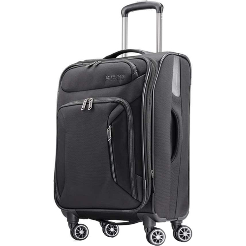 American Tourister 21` Zoom Expandable Softside Luggage with Dual Spinner Wheels, Black