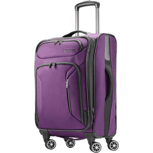 American Tourister 21` Zoom Expandable Softside Luggage with Dual Spinner Wheels, Purple