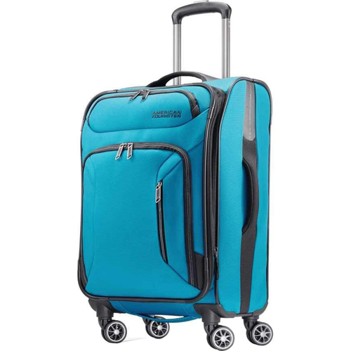 American Tourister 21` Zoom Expandable Softside Luggage with Dual Spinner Wheels Teal Blue