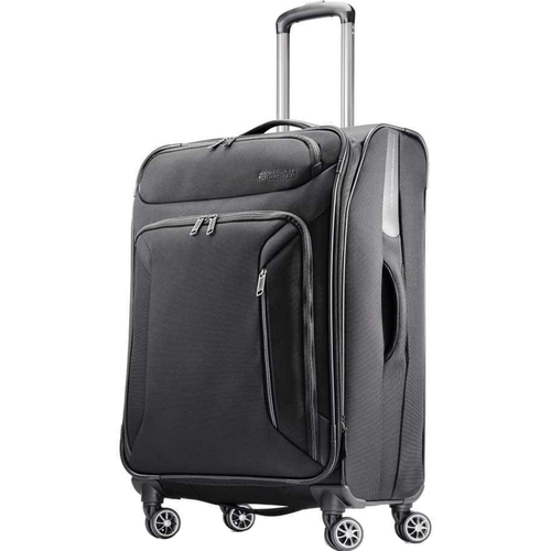 American Tourister 25` Zoom Spinner Expandable Suitcase Luggage with Dual Spinner Wheels, Black