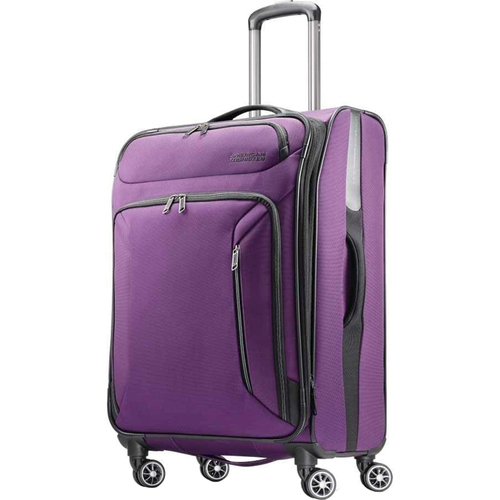 American Tourister 25` Zoom Spinner Expandable Suitcase Luggage with Dual Spinner Wheels, Purple