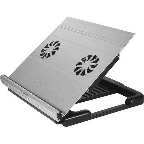 Monoprice Adjustable Aluminum Laptop Riser Cooling Stand with Built-In 70mm Fan, Black