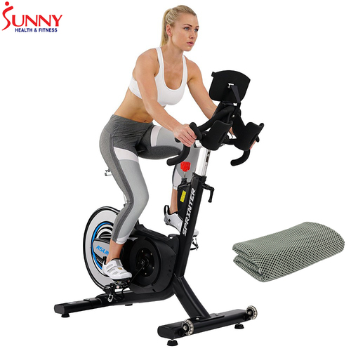 Sunny Health and Fitness ASUNA 6100 Indoor Cycling Trainer Exercise Bike w/ Cooling Towel