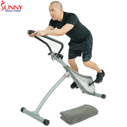 Sunny Health and Fitness Incline Plank Standing Exercise Bike w/ Cooling Towel