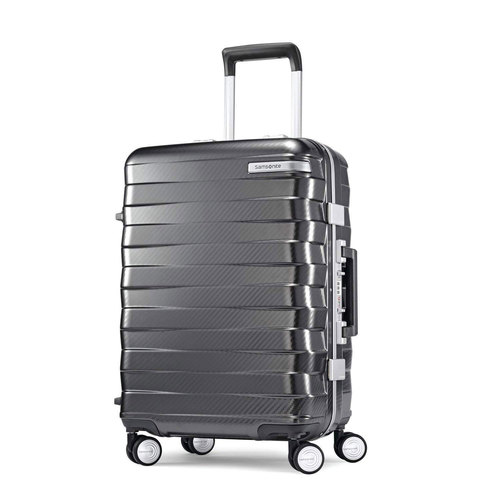 Samsonite Framelock Hardside Zipperless Checked Luggage with Spinner Wheels 25` Dark Grey