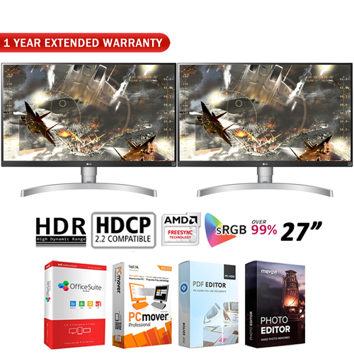 LG Dual 27` 4K HDR IPS Monitor 3840 x 2160 16:9 27UK650W +Extended Warranty Pack