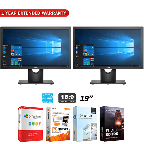 Dell Dual VESA Mountable 19` Screen LED-Lit Monitor + Extended Warranty Pack