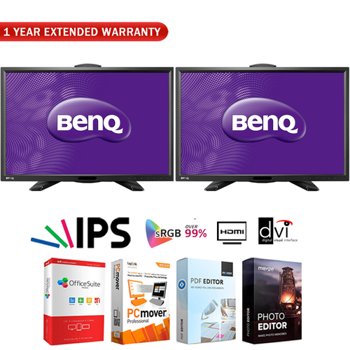BenQ Dual 24` IPS Hi-Def LED Monitor (PG2401PT) HD + Extended Warranty Pack