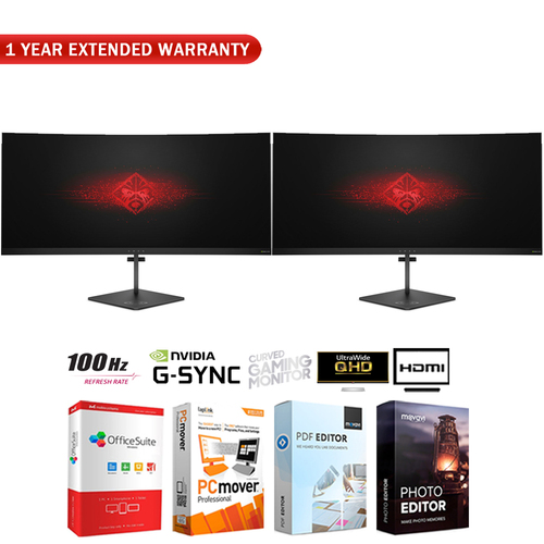 Hewlett Packard Dual OMEN X 35` 21:9 Ultra WQHD Curved Gaming Monitor +Extended Warranty Pack