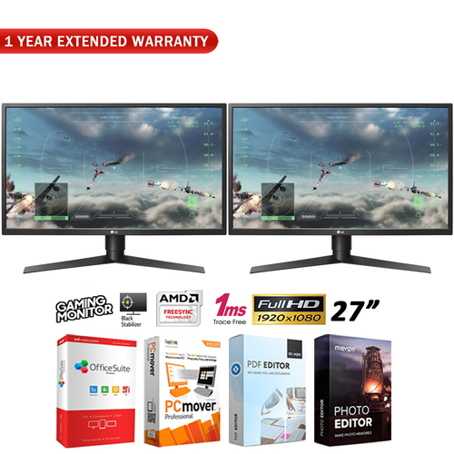 LG Dual 27` FHD Gaming Monitor 1920 x 1080 16:9 + 1 Year Extended Warranty Pack