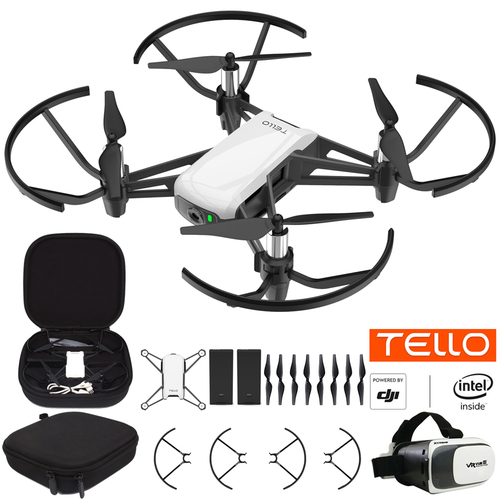 DJI Tello Quadcopter Drone Fun Flight Bundle With Case Spare Battery & VR Headset