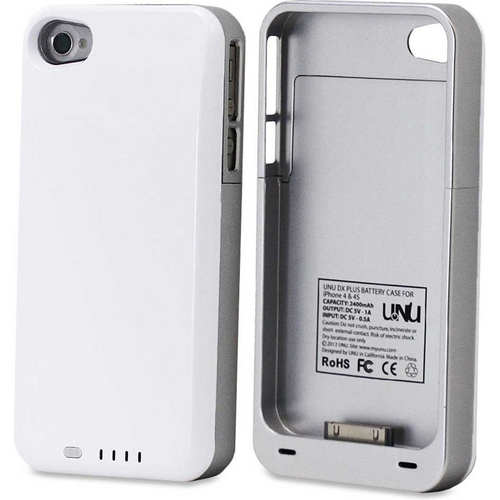 uNu Power DX PLUS Protective Battery Case - iPhone 4S & 4 (White/Silver) 2400MAH