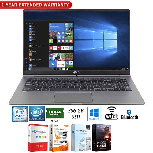 LG Gram Thin, Light Laptop 15.6` FHD Intel Core i7 8550U +Extended Warranty Pack