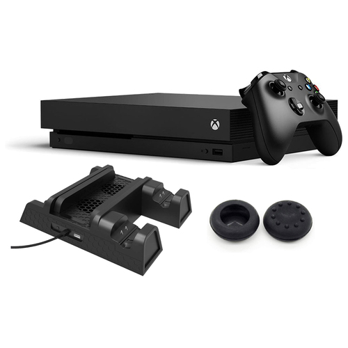 Xbox One X with Dual Controller Charging/Cooling Stand and Thumb Grips Bundle