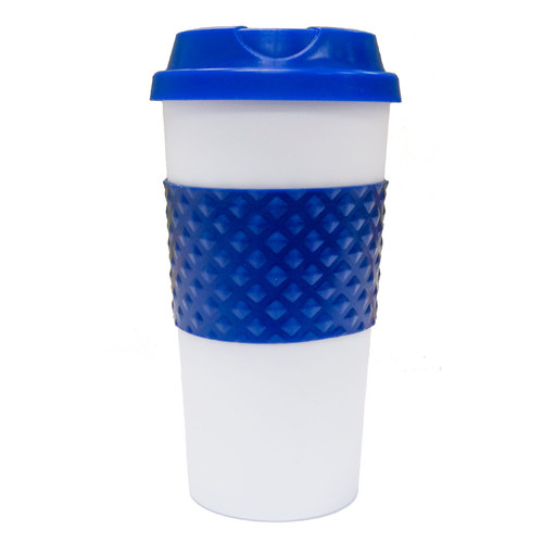 Reusable 16-Ounce Capacity To Go Mug - Blue/White