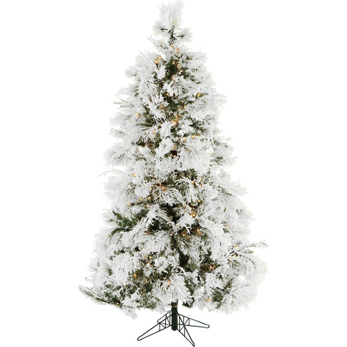 Christmas Time 6.5 Ft. Snowy Artificial Christmas Tree Multi Color LED Soundtrack - CT-FF065-ML