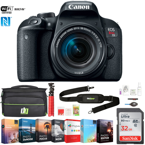 Canon EOS Rebel T7i DSLR Camera w/ EF-S 18-55mm IS STM Lens +32GB Deluxe Bundle