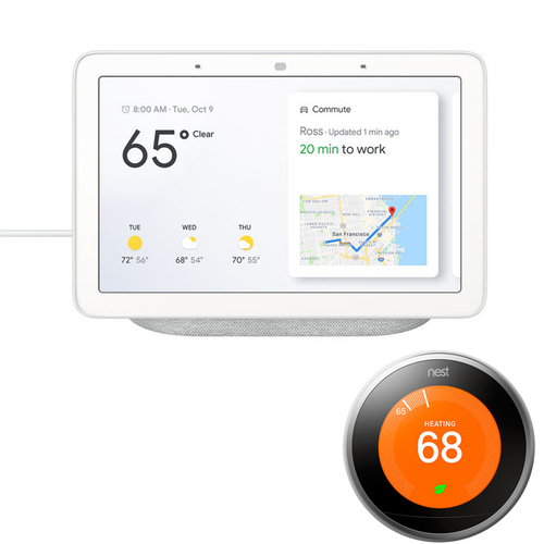 Google Nest Hub with Google Assistant (GA00516-US) & Google Nest Learning Thermostat