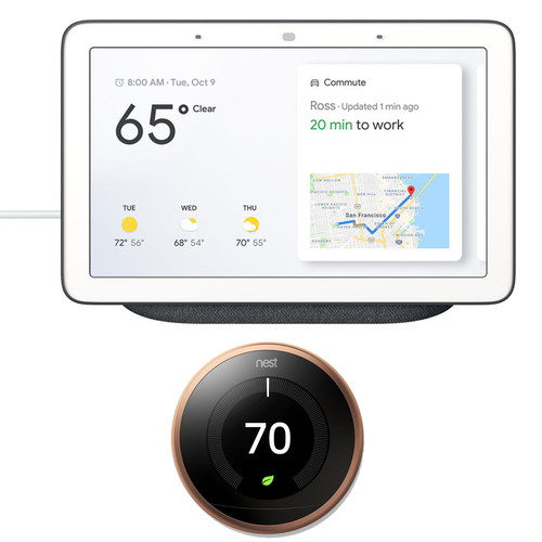 Google Nest Hub with Google Assistant (GA00515-US) + Google Nest Learning Thermostat 3rd Gen