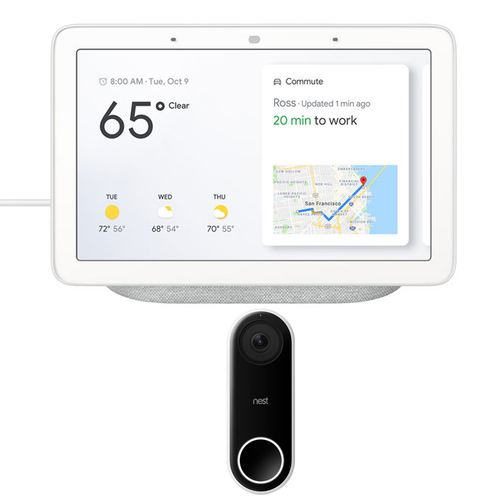Google Nest Hub with Google Assistant (GA00516-US) & Google Nest Hello Wi-Fi Video Doorbell