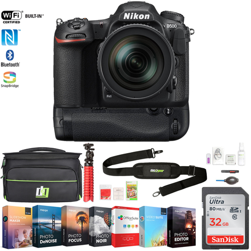 Nikon D500 20.9MP CMOS DX DSLR Camera with 16-80mm VR Lens + 32GB Deluxe Bundle