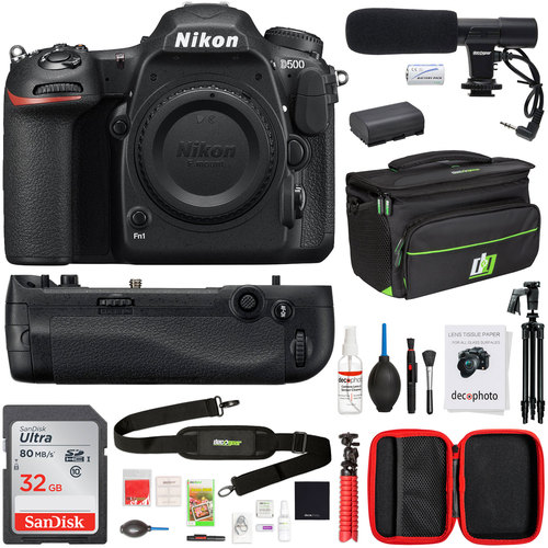 Nikon D500 20.9 MP CMOS DX Format Digital SLR Camera with 4K Video + 32GB Photo Bundle