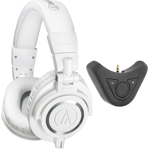 Audio-Technica Professional Studio Headphones White + Bluetooth Adapter