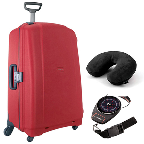 Samsonite F'Lite GT 31` Spinner Suitcase (Red) w/ Travel Bundle