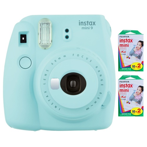 Fujifilm Instax Mini 9 Instant Camera - Ice Blue w/ 40 Sheets Of Instant Film
